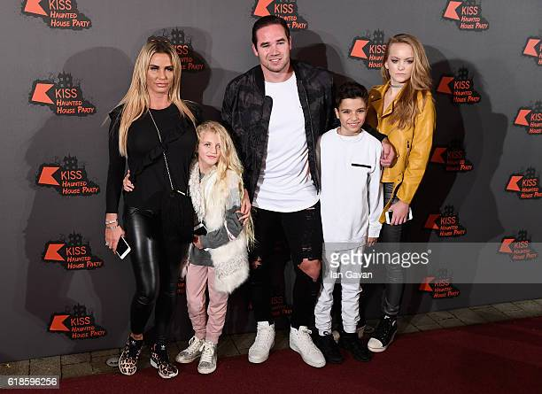Katie Price Princess Tiaamii Kieran Hayler Junior Andre and a guest attend the Kiss FM Haunted House Party at SSE Arena on October 27 2016 in London...