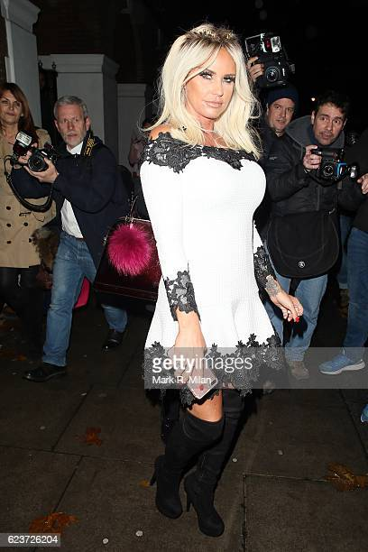 Katie Price sighted leaving the The School Of Life Katie Price and Philosophy talk on November 16 2016 in London England