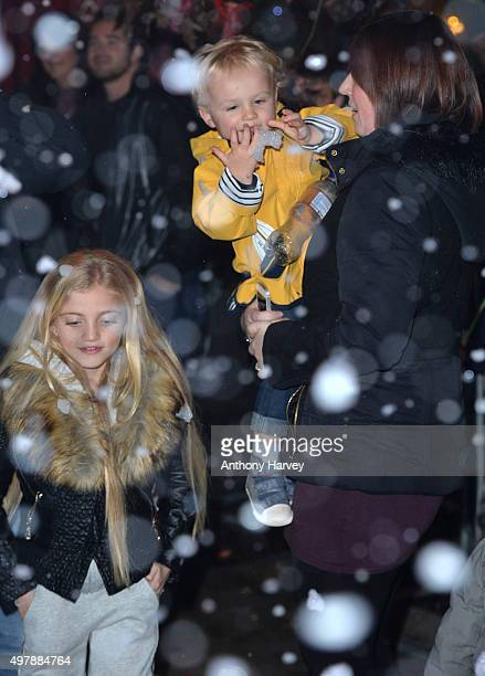Katie Price's daughter Princess Tiaamii and son Jett Riviera watch as she switches on the Woking SHopping Christmas Lights at on November 19 2015 in...