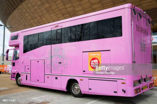 Katie Price's horsebox at the Sainsbury's Sport Relief cycle challenge at Queen Elizabeth Olympic Park on March 23 2014 in London England