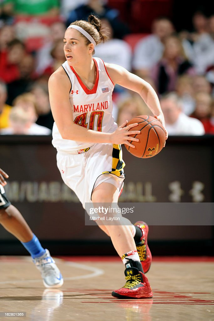 Katie Rutan #40 of the Maryland Terrapins looks to pass the ball during a women's college basketball game against the Duke Blue Demons on November 30, 2013 at the Comcast Center in College Park, Maryland. The Blue Demons won 75-59.