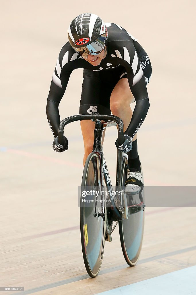 Katie Schofield of New Zealand competes in the women's sprint during the 2013 UCI Festival of Speed at SIT Zerofees Velodrome on November 16 2013 in...