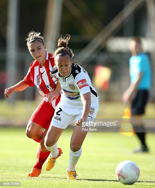 Katie Schubert of the Glory controls the ball against Stephanie Catley of City during the round three WLeague match between Perth Glory and Melbourne...