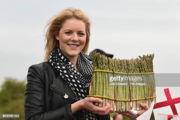 Katie Sexton celebrates the start of the asparagus season with a round of 101 Asparagus spears at Broadway Tower Worcestershire
