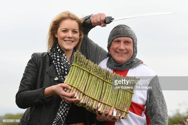 Katie Sexton celebrates the start of the asparagus season with St George and a round of 101 Asparagus spears at Broadway Tower Worcestershire
