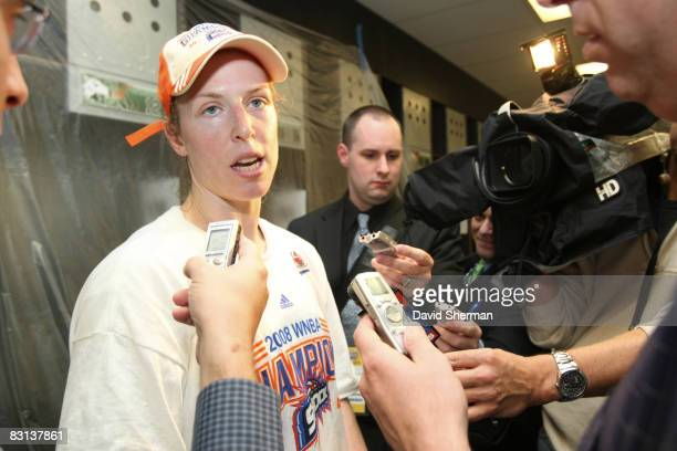 Katie Smith of the Detroit Shock inteviews in the lockerroom after winning Game Three of the WNBA Finals against the San Antonio Silver Star on...