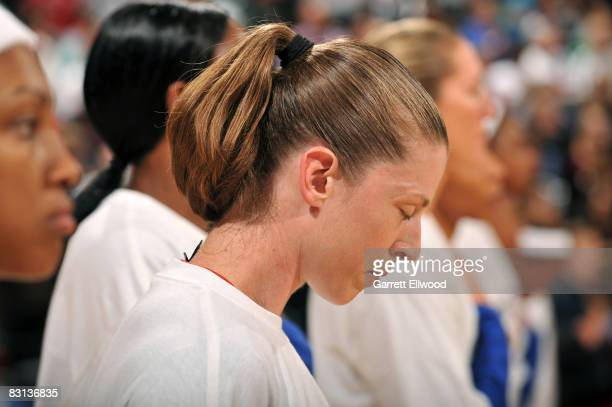 Katie Smith of the Detroit Shock prepares against the San Antonio Silver Stars during Game Three of the WNBA Finals on October 5 2008 at the Eastern...