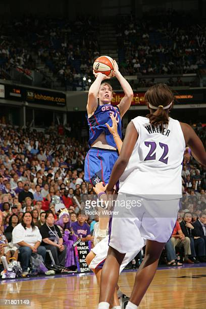Katie Smith of the Detroit Shock shoots against the Sacramento Monarchs during Game Four of the 2006 WNBA Finals on September 6 2006 at Arco Arena in...