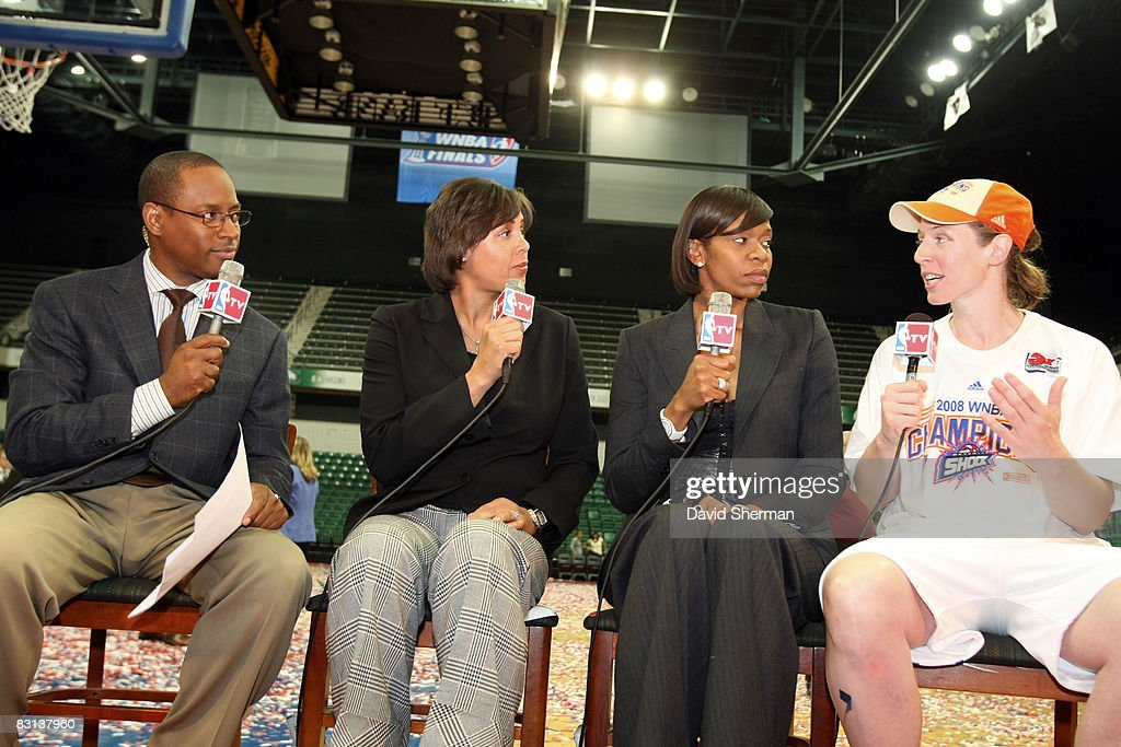 Katie Smith of the Detroit Shock speaks to Andre Aldridge Cheryl Miller and Tina Thompson of NBATV after winning Game Three of the WNBA Finals...