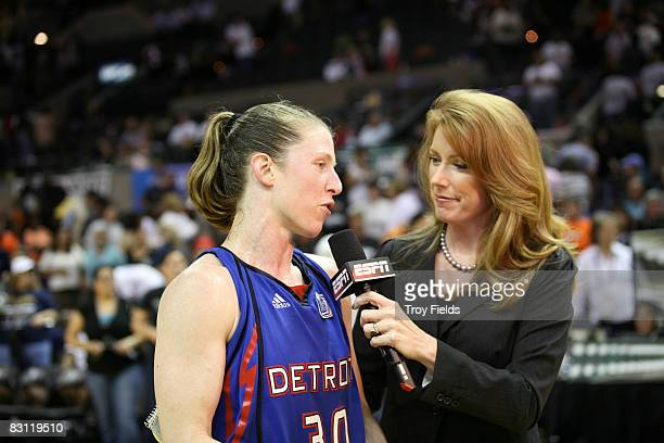 Katie Smith of the Detroit Shock speaks to Heather Cox of ESPN after Game Two of the WNBA Finals on October 3 2008 at ATT Center in San Antonio Texas...