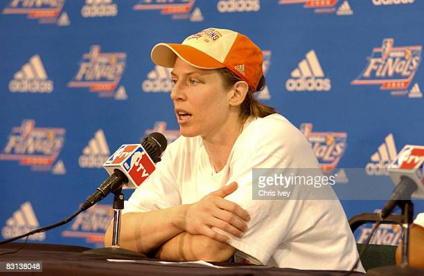 Katie Smith of the Detroit Shock speaks to the press after defeating the San Antonio Silver Stars in Game Three of the WNBA Finals on October 5 2008...