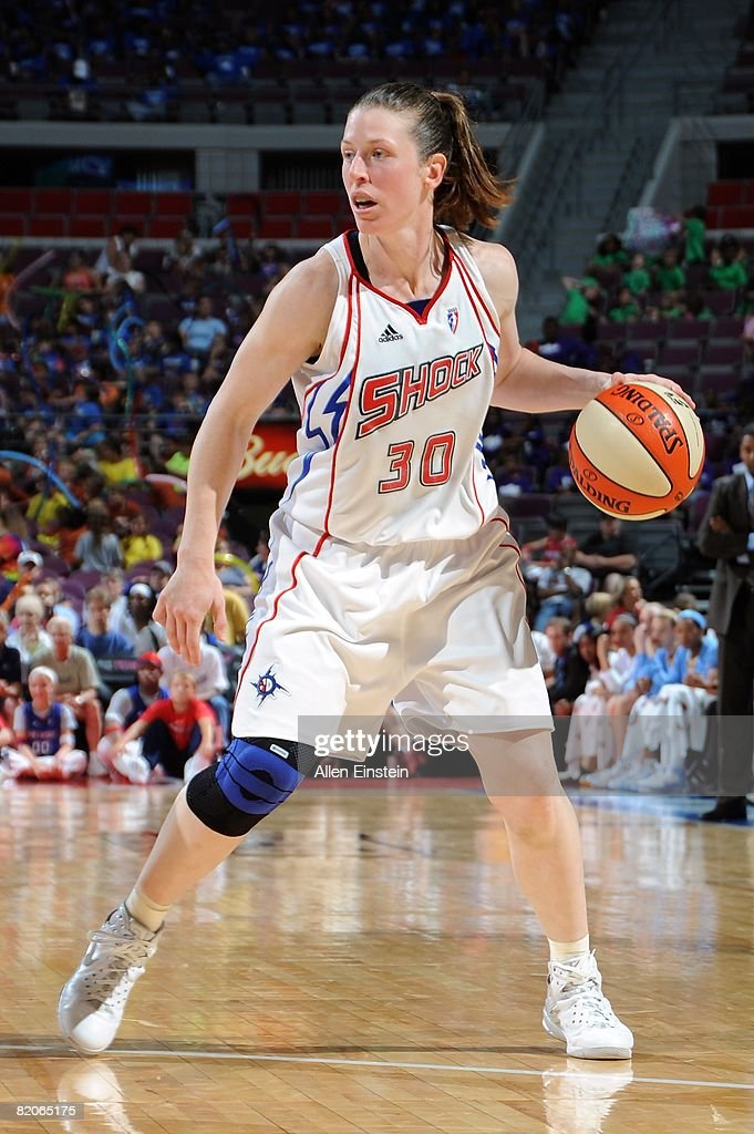 Katie Smith of the Detroit Shock surveys the floor against the Chicago Sky during the WNBA game on July 16 2008 at The Palace of Auburn Hills in...