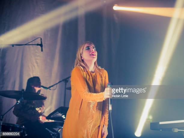 Katie Stelmanis of Austra performs at the Village Underground on March 22 2017 in London United Kingdom