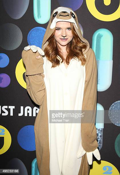 Katie Stevens arrives at the Just Jared Halloween Party held at No Vacancy on October 31 2015 in Los Angeles California