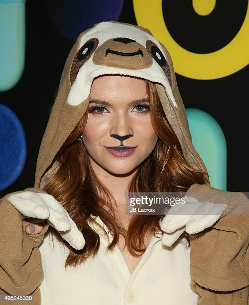 Katie Stevens attends the Just Jared Halloween party at No Vacancy on October 31 2015 in Hollywood California