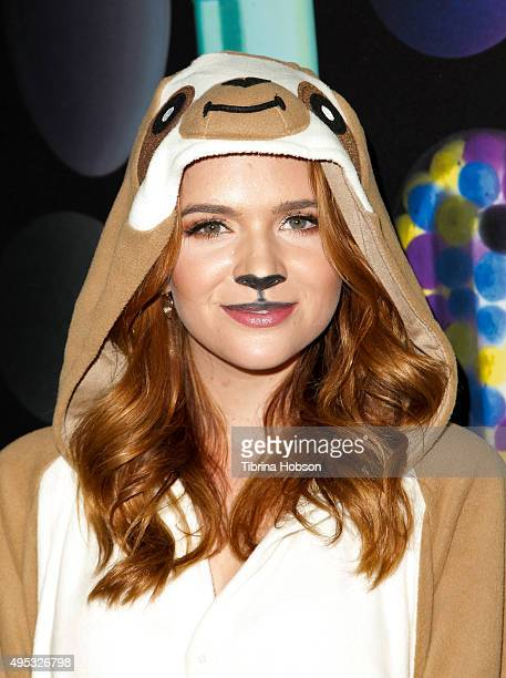Katie Stevens attends the Just Jared Halloween Party at No Vacancy on October 31 2015 in Los Angeles California