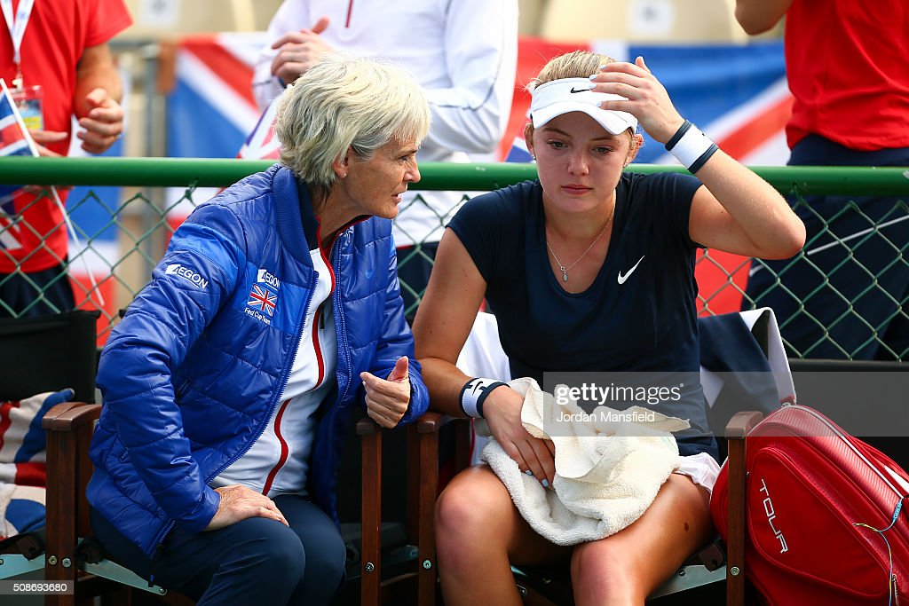 <a gi-track='captionPersonalityLinkClicked' href=/galleries/search?phrase=Katie+Swan&family=editorial&specificpeople=12941359 ng-click='$event.stopPropagation()'>Katie Swan</a> of Great Britain (R) and captain <a gi-track='captionPersonalityLinkClicked' href=/galleries/search?phrase=Judy+Murray&family=editorial&specificpeople=582324 ng-click='$event.stopPropagation()'>Judy Murray</a> (L) talk after her match against Ysaline Bonaventure during the tie between Belgium and Great Britain on day three of the Fed Cup Europe/Africa Group One fixture at the Municipal Tennis Club on February 6, 2016 in Eilat, Israel.