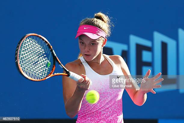 Katie Swan of Great Britain in action in her semifinal match against Dalma Galfi of Hungary during the Australian Open 2015 Junior Championships at...