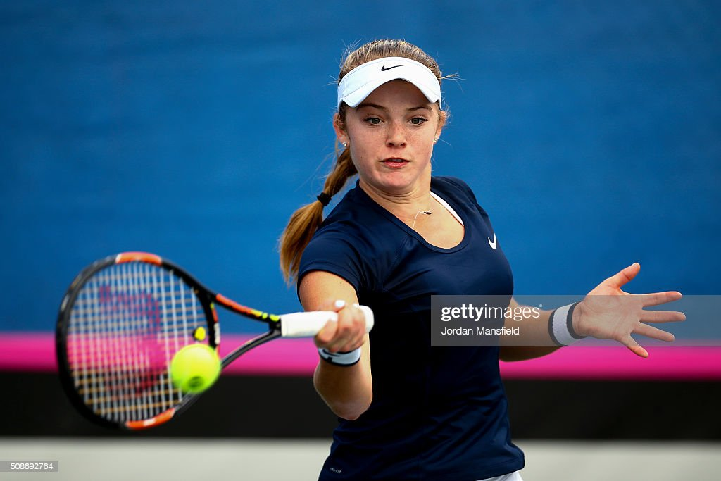 <a gi-track='captionPersonalityLinkClicked' href=/galleries/search?phrase=Katie+Swan&family=editorial&specificpeople=12941359 ng-click='$event.stopPropagation()'>Katie Swan</a> of Great Britain plays a forehand during her match against Ysaline Bonaventure during the tie between Belgium and Great Britain on day three of the Fed Cup Europe/Africa Group One fixture at the Municipal Tennis Club on February 6, 2016 in Eilat, Israel.