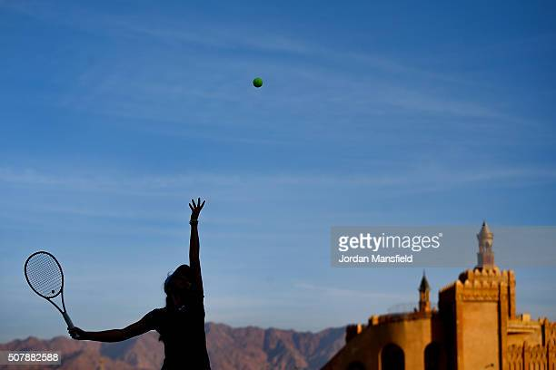 Katie Swan of Great Britain serves during a practice session ahead of the start of the start of the Fed Cup at the Municipal Tennis Club on February...