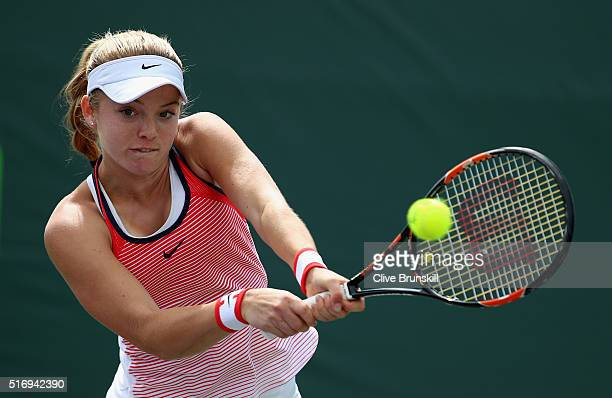 Katie Swan of Great Britain shows her dejection in her final qualifying round match against Samantha Crawford of the USA during the Miami Open...