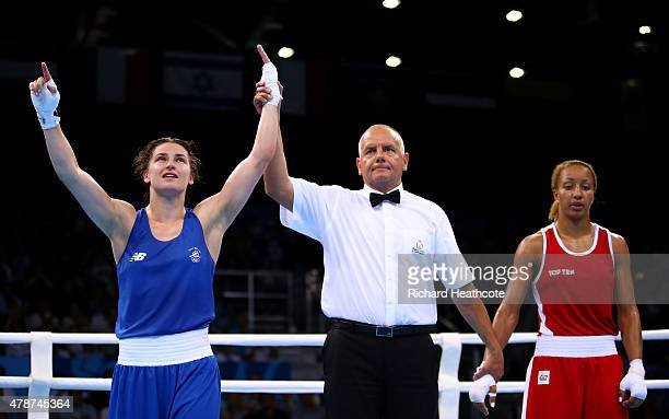 Katie Taylor of Ireland celebrates victory over Estelle Mossely of France in the Women's Boxing Lightweight Final during day fifteen of the Baku 2015...