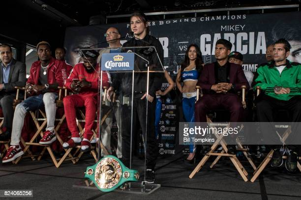 Katie Taylor speaks to the press during the Adrien Broner vs Mikey Garcia Final Press Conference at the Dream Hotel July 27 2017 in New York City