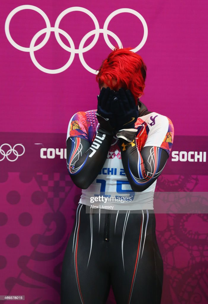 <a gi-track='captionPersonalityLinkClicked' href=/galleries/search?phrase=Katie+Uhlaender&family=editorial&specificpeople=724576 ng-click='$event.stopPropagation()'>Katie Uhlaender</a> of the United States looks on after competing a run during the Women's Skeleton on Day 7 of the Sochi 2014 Winter Olympics at Sliding Center Sanki on February 14, 2014 in Sochi, Russia.