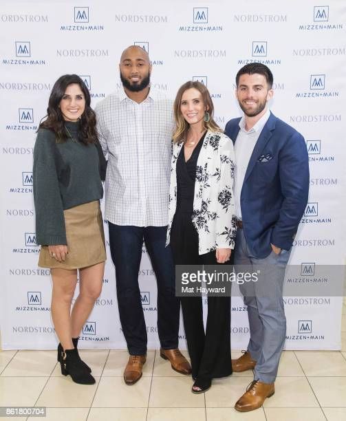 Katie Voelker KJ Wright Jessie Young and Kevin Lavelle attend a MizzenMain promotional event at Nordstrom on October 15 2017 in Seattle Washington