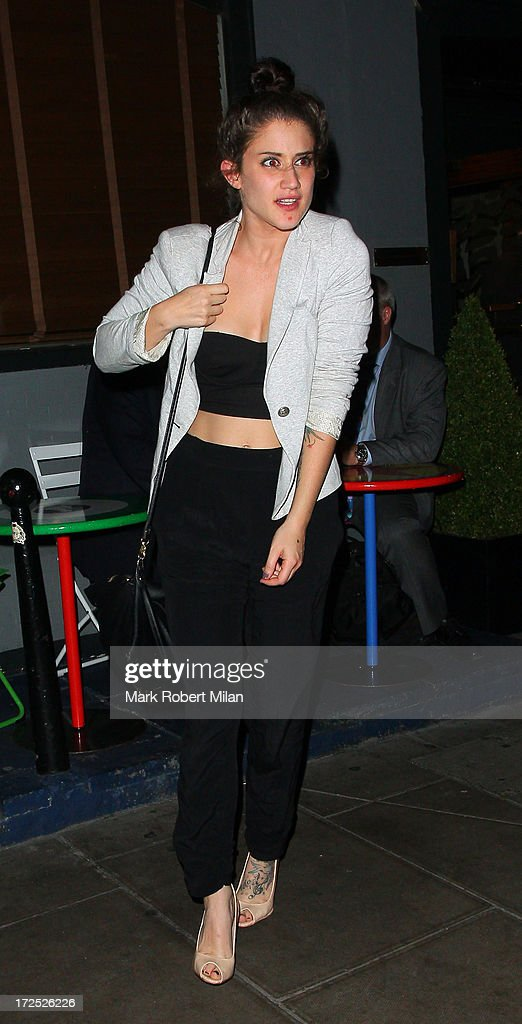 Katie Waissel leaving the Groucho club on July 2, 2013 in London, England.