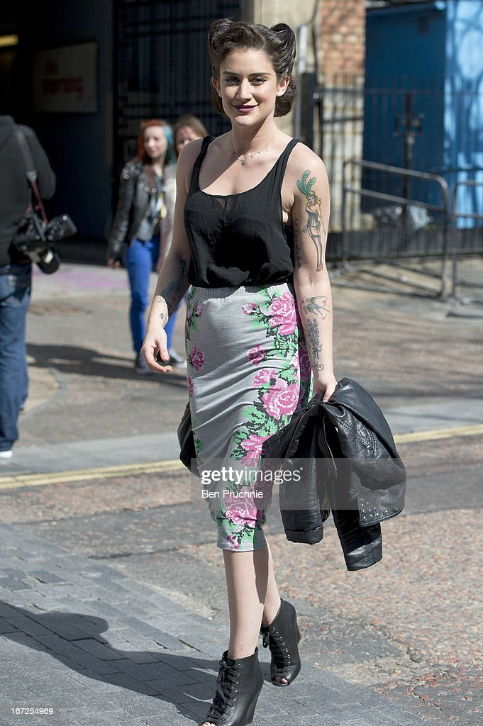 Katie Waissel sighted departing ITV Studios on April 23, 2013 in London, England.