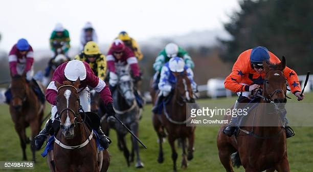 Katie Walsh riding Blow By Blow win The Attheracescom Champion INH from Moon Racer at Punchestown racecourse on April 27 2016 in Naas Ireland