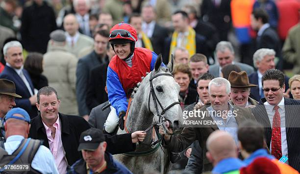Katie Walsh riding Thousand Stars rides into the Winners Enclosure after The Vincent O'Brien County Handicap Hurdle Race on the final day of the...