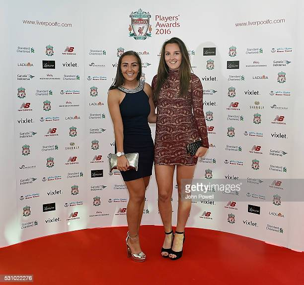 Katie Zelem and Caroline Weir of Liverpool Ladies arrive at the Liverpool FC End of Season Awards at The Exhibition Centre on May 12 2016 in...