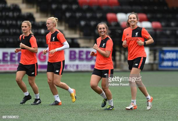 Katie Zelem and Caroline Weir of Liverpool Ladies during a training session at Select Security Stadium on June 2 2017 in Widnes England