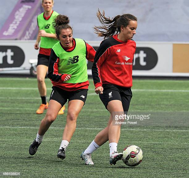 Katie Zelem and Lucy Stanifourth of Liverpool Ladies in action during a training session at Select Security Stadium on September 4 2015 in Widnes...