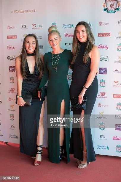 Katie Zelem Ashley Hodson and Caroline Weir of Liverpool Ladies arrives before the Liverpool FC Player Awards at Anfield on May 9 2017 in Liverpool...