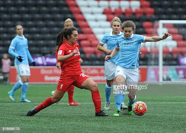 Katie Zelem of Liverpool Ladies and Daphne Corboz of Manchester City Women in action during the Liverpool Ladies v Manchester City Women Women's FA...