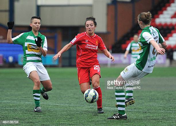 Katie Zelem of Liverpool Ladies and Paige Stewart and Natalie Haigh of Yeovil Town Ladies in action during the preseason friendly between Liverpool...