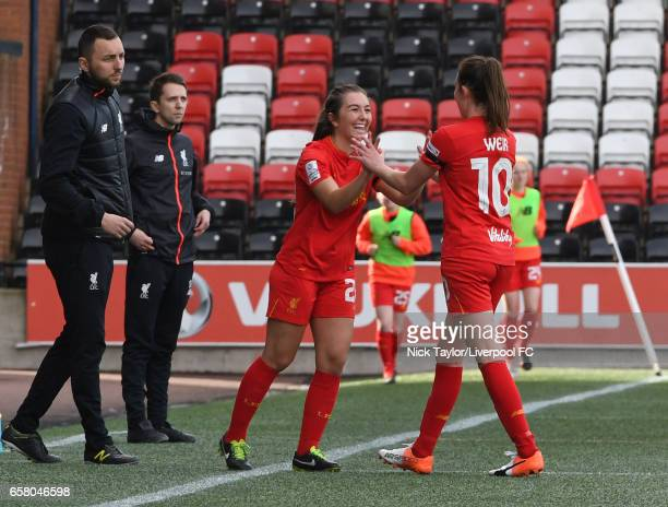 Katie Zelem of Liverpool Ladies comes on as a substitute for Caroline Weir during SSE FA Women's Cup match between Liverpool Ladies and Notts County...