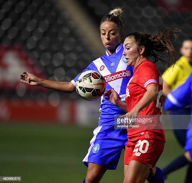 Katie Zelem of Liverpool Ladies competes with Martina Rosucci of Brescia during the UEFA Women's Champions League match between Liverpool Ladies and...