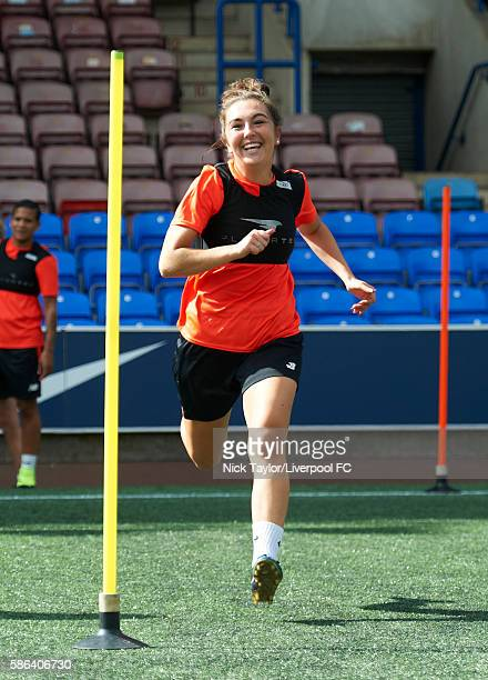 Katie Zelem of Liverpool Ladies during a training session at the Select Security Stadium on August 6 2016 in Widnes England