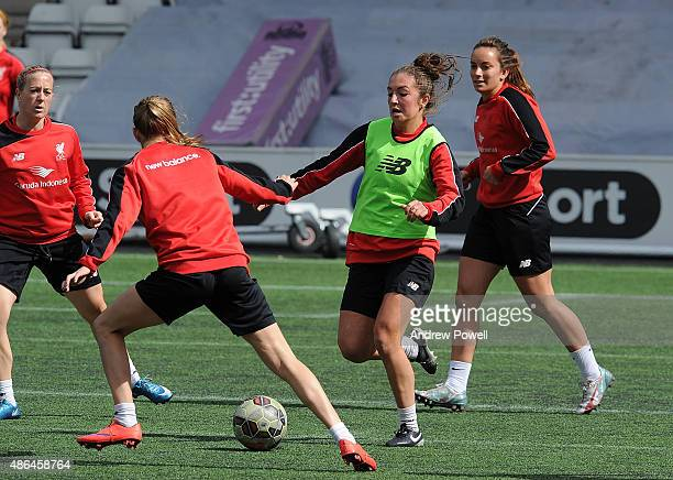 Katie Zelem of Liverpool Ladies in action during a training session at Select Security Stadium on September 4 2015 in Widnes England