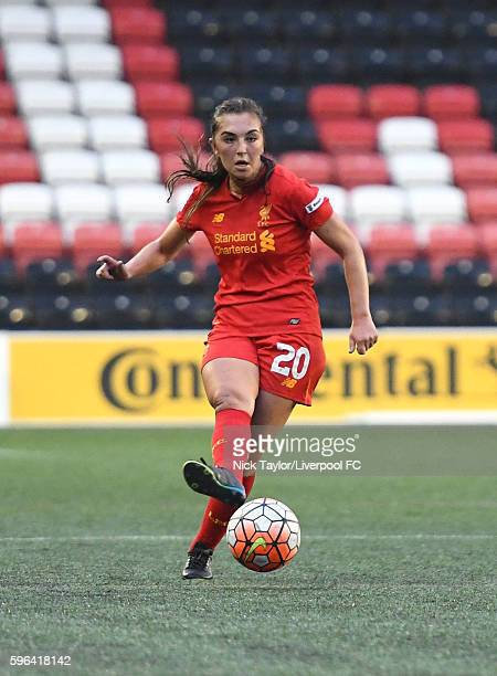 Katie Zelem of Liverpool Ladies in action during the Liverpool Ladies v Doncaster Rovers Belles WSL 1 match on August 27 2016 in Widnes England