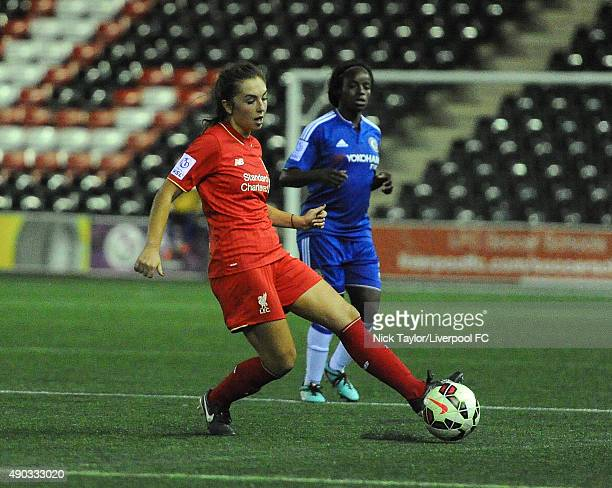 Katie Zelem of Liverpool Ladies in action during the WSL 1 match between Liverpool Ladies and Chelsea Ladies at Select Security Stadium on September...