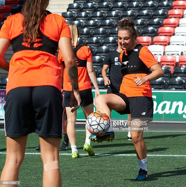 Katie Zelem of Liverpool Ladies on the ball during a training session at the Select Security Stadium on August 6 2016 in Widnes England