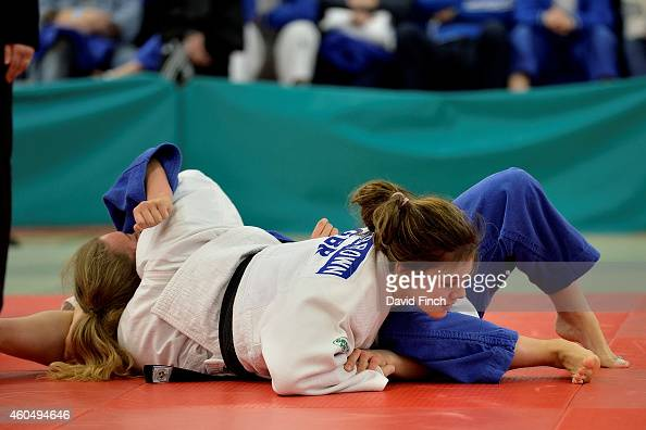 KatieJemima YeatsBrown of Ryecroft JC holds Olivia Spellman of Pinewood JC for an ippon on her way to the u63kg bronze medal during the British...
