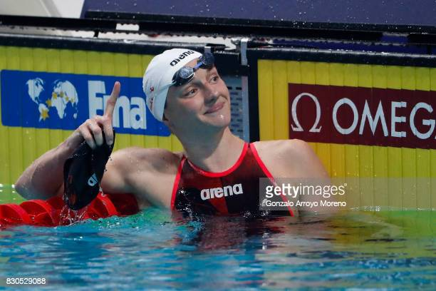 Katinka Hosszu from Hungary celebrates after winning the Women's 200m Backstroke Final of the the FINA/airweave Swimming World Cup Eindhoven 2017 at...