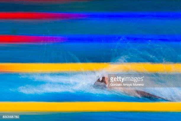 Katinka Hosszu from Hungary competes during the Women's 200m Backstroke Final of the the FINA/airweave Swimming World Cup Eindhoven 2017 at Pieter...