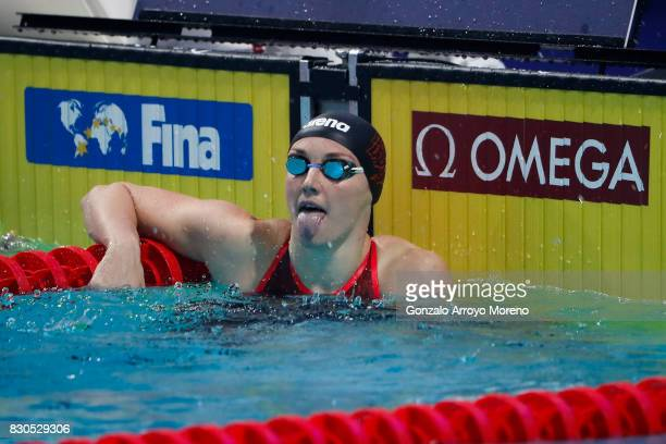 Katinka Hosszu from Hungary reacts after winning the Women's 200m Backstroke Final of the the FINA/airweave Swimming World Cup Eindhoven 2017 at...